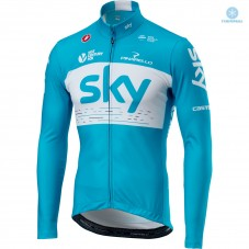 2018 SKY Team Blue Thermal Long Sleeve Cycling Jersey