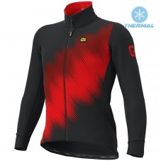 2019 ALE Pulse Black-Red Thermal Long Sleeve Cycling Jersey