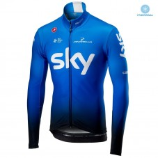 2019 SKY Team Blue Thermal Long Sleeve Cycling Jersey