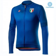 2020 Italia Blue Thermal Long Sleeve Cycling Jersey