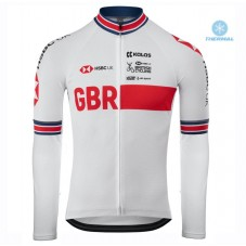2020 Kalas GBR Country Team White Thermal Long Sleeve Cycling Jersey