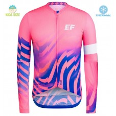 2020 EF Pro Cycling Team Pink Kids Thermal Long Sleeve Cycling Jersey
