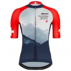 2021 TOUR DE SUISSE Team Mountains Red-Blue Cycling Jersey
