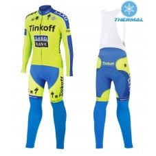 2015 Tinkoff Saxo Bank Thermal Long Cycling Long Sleeve Jersey And Bib Pants Set