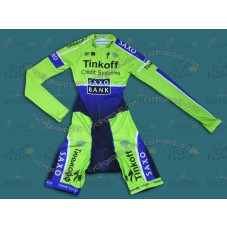 2014 Saxo Bank TDF Fluorescent Long Sleeve Cycling Skinsuit Time Trail Skin Suits