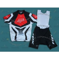 2014 Fox Team White And Red  Cycling Jersey And Bib Shorts Set
