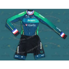 2014 Team Europcar France Champion Long Sleeve Cycling Skinsuit Time Trail Skin Suits