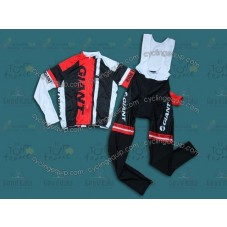 2014 Giant Black and Red  Cycling Long Sleeve Jersey And Bib Pants Set