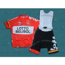 2014 Team Lotto - Belisol Red  Cycling Jersey And Bib Shorts Set