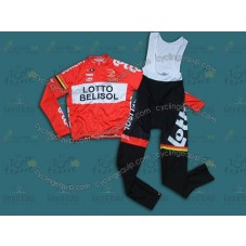 2014 Team Lotto - Belisol Red Cycling Long Sleeve Jersey And Bib Pants Set