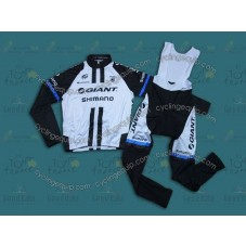 2014 Team Giant Shimano White  Thermal Long Cycling Long Sleeve Jersey And Bib Pants Set