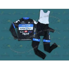 2013 Cervelo Spider Tech Black and Blue Cycling Long Sleeve Jersey And Bib Pants Set
