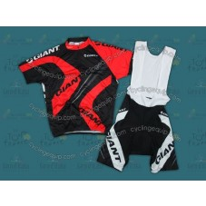 2012 Giant Black And Red Cycling Jersey And Bib Shorts Set