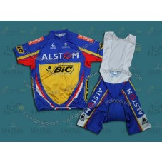 2012 Alstom BIC Blue Cycling Jersey And Bib Shorts Set