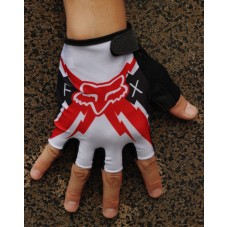 2014 Team Fox White And Red  - Cycling Gloves
